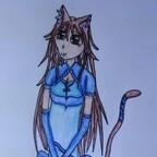 Catgirl in elegantem Kleid