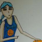 Basketballerin beim dribbeln