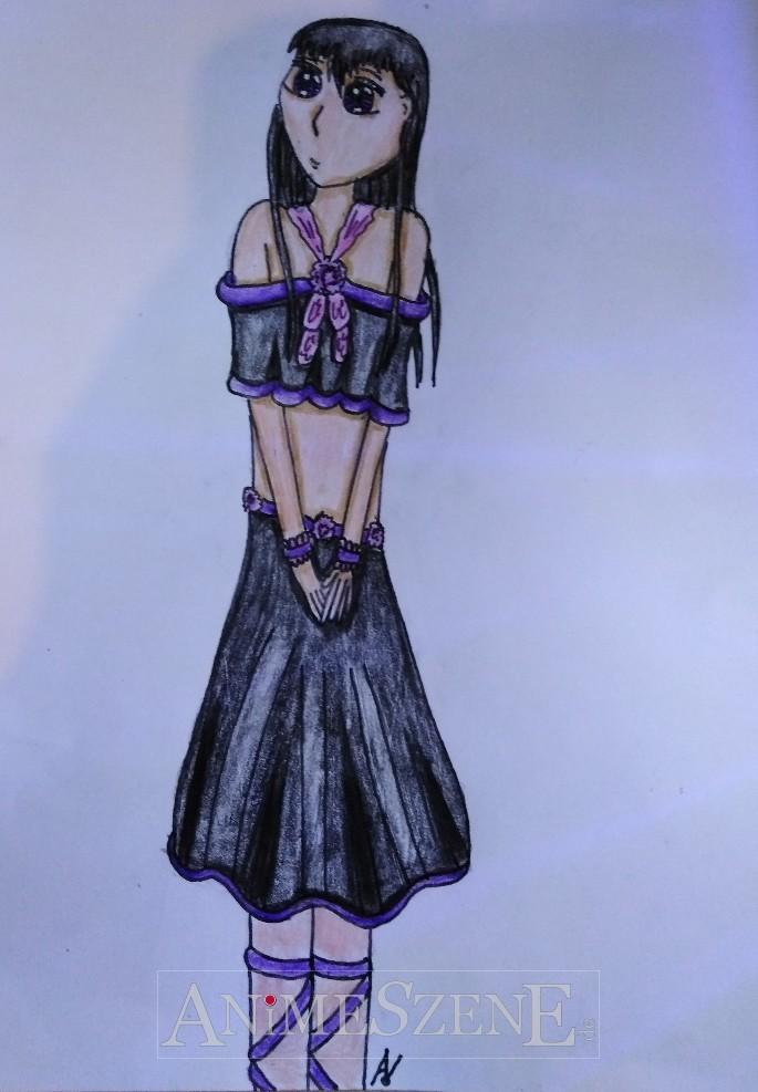 Gothik-Mädchen mit Faltenoberteil
