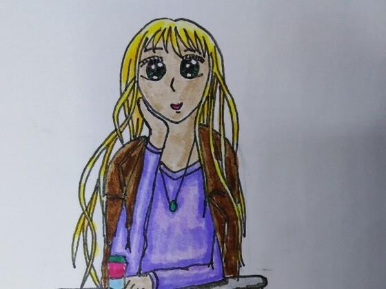 Sitzendes Mädchen mit Kaffeebecher