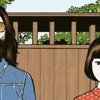 Mann lange Haare Vollbart blaues Hemd Frau rote Bluse weiße Punkte