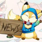 hübsches Gesicht lackierte Fingernägel Becher in der Hand große Augen Manga Figur Fuchs Hot News Schild blauer Pullover